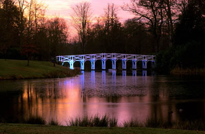 The Chinese bridge in winter at Painshill Park