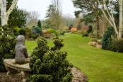 Girl on a bench in a winter garden. John Massey's garden at Ashwood Nursery.