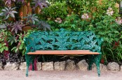 Fern Detailed Wrought Iron Bench