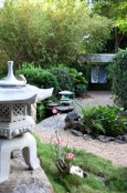 Subtropical Japanese Garden Ornamented with Lanterns and Silk Panels