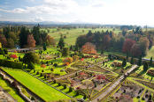Elevated view of Drummond Castle Gardenden