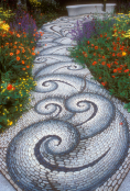 Mosaic garden path through flowers