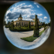 Wilanow Palace and gardens closed in a cristal ball..