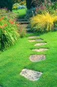 Flagstone Steps in the Lawn