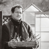 Monty Don with Dahlia tubers