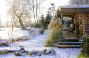 """A perfect winter's day by Peter & Doris's garden sauna"""