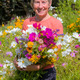 Sue Beesley in the Higgledy Garden Cut Flower Patch
